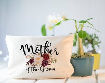 Mother of the Groom Gift, Wedding day gift, Marsala Cosmetics Case, Gift from Daughter, Gift from Bride, Mother of the Groom, Make Up Bag