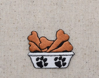 White Dog Dish - with Bones - Dog Food - Iron on Applique - Embroidered Patch - 693436-A