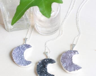 Crescent Moon Necklace, Moon Phase Necklace, Silver Moon Necklace, Moonstone Necklace, Druzy Stone Necklace, Boho Moon Necklace, Moka Moon