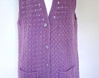 Vintage Donegal Collection Made in Ireland by Magee pure new wool lilac purple crochet vest waistcoat knit 60s 70s size large to XL