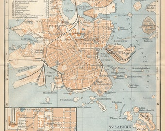 1929 Helsinki Finland Antique Map
