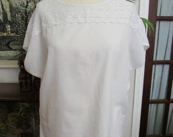 1980s Top Lady white short-sleeved top with Broderie Anglaise yoke, size 14