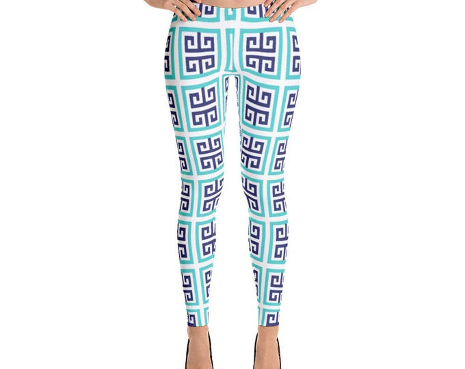 Leggings, Blue Aqua Pattern Leggings, Yoga Pants, Capri Leggings, Ankle Length Leggings, Women Sizes, X-Small, Small, Medium, Large, XLarge