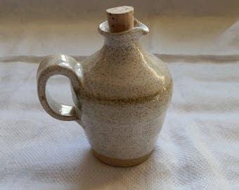 Small 1970's Cream Speckled Studio Pottery Stoneware Oil / Vinegar Jug with Cork Stopper