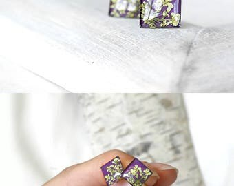 miniature jewelry Small stud earrings girlfriend Purple earrings sisters gift Mint stud earrings Minimalist earrings Square stud earrings