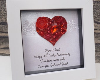 Ruby anniversary gift, 40th wedding anniversary, 40th anniversary gift,40th ruby, personalised framed gift,40 year anniversary, handmade