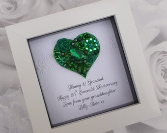 Emerald wedding anniversary personalised gift 55th