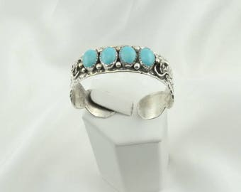 Hallmarked Vintage Southwest Native American Turquoise and Sterling Silver Cuff Bracelet FREE SHIPPING!  #IHMJ-CF7