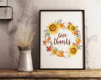 give thanks sign, thanksgiving decoration, gather sign, gather printable, thanksgiving printable wall art,