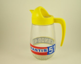 Anisette Pernod 45 Pastis 51 water jug pitcher  blue and yellow glass pitcher