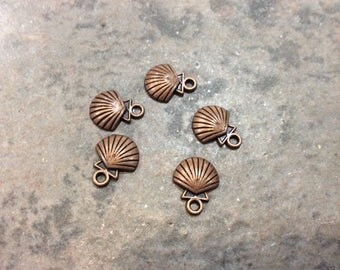 Copper Sea Shell Charms with antique copper finish Package of 5 charms perfect for adjustable bangle bracelets Beach theme charms