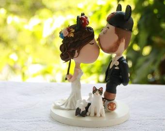 Disney fans. Cute couple kiss. Soccer fan. Pet cats. Wedding cake topper. Wedding figurine. Handmade. Fully customizable. Unique keepsake