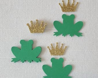 Green Frog Prince & Gold Princess Crown Confetti, 50 Pieces, Birthday Bridal Shower Table Scatter Decoration