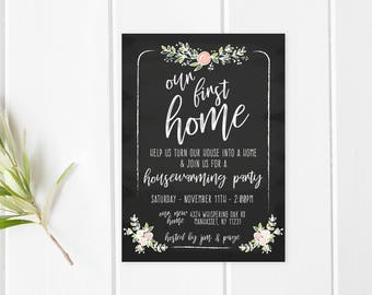 Housewarming Party Invitation, Housewarming Invitation, Housewarming, New Home, Our First Home, Chalkboard, Chalkboard Housewarming [65]