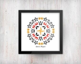 "Baltimore Kaleidoscope - 8""x8"" - Art Print"