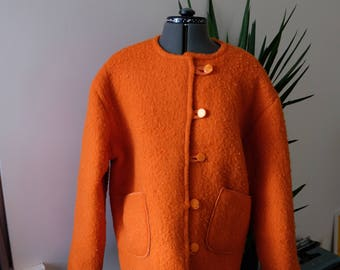 Handmade Orange Wool Coat