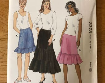 Kiwk Sew 3373 - Pull On Skirts with Ruffle Hem and Tiered Option - Size XS X M L XL