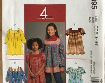 McCalls M5695 - Girl's Yoked Dress or Top with Contrast Fabric and Leggings - Size 3 4 5 6