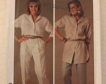 Simplicity 6947 - 1980s Shirt or Tunic with NOtched Collar and Pants with Cropped Option - Size 12 14 16