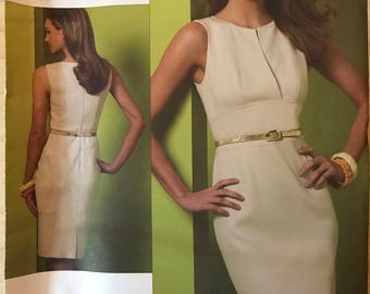 Vogue V1183 - Kay Unger Sheath Dress with Slash Front, Princess Seams, and Shaped Midriff - Size 6 8 10 12