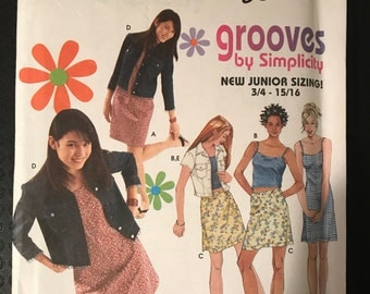 Simplicity 9196 - Grooves Juniors Dress, Top, Skirt, and Jacket - Size 3 4 5 6 7 8 9 10