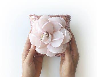 EXPRESS SHIPPING, Wedding Ring Bearer Pillow, Pink Sequin Pillow, Pink Organza Flower, Rose Wedding Pillow, Sequin Pillow, Boho Wedding