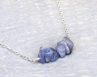 Tanzanite Necklace - Tanzanite Bar Necklace - Raw Tanzanite Necklace - Rough Tanzanite - Raw Tanzanite - Sterling Silver - Tanzanite Jewelry