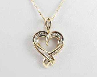 14k Yellow Gold Diamond Heart Necklace 16 Inches Chain 0.25 carat