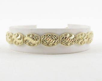 "14K Yellow Gold Filigree Bracelet, 14k Diamond Cut Bracelet, Women Bracelet, Designer Gold Bracelet 8 "" 9.3 grams"