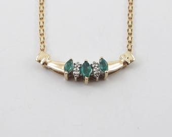 10k Yellow Gold Diamond And Emerald Necklace 16 Inches Gemstones Necklace