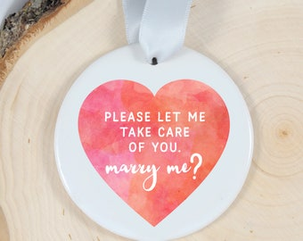 Will you marry me ornament - marriage proposal - wedding proposal - engagement gift - gift for her - unique proposal - proposal ornament