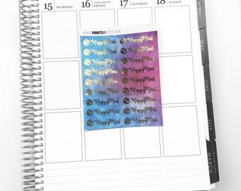 Foil Happy Mail Multi Color Planner Stickers
