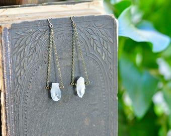 Dangling Crystal Earrings, Crystal Earrings, Gemstone Earrings, Boho Earrings, Bohemian Earrings, Boho Wedding Earrings, Mystical, Cleansing