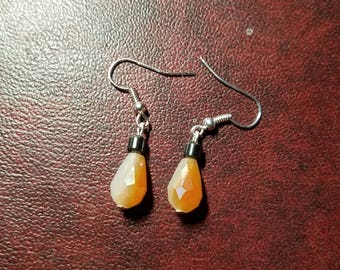Orange & White Shimmery Teardrop Earring w Charcoal Grey Bead