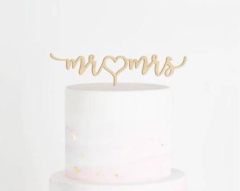 SALE - Mr & Mrs Cake Topper, Wedding Cake Topper, Mr and Mrs Cake Topper, Heart Cake Topper, Engagement Cake Topper, Script Cake Topper