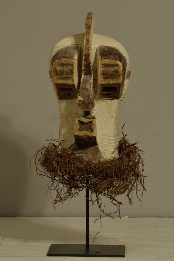 African Mask Songye Male Brown White Wood Congo Handmade Raffia Carved Wood Male Tribal Society Power Secret Sonyge Mask