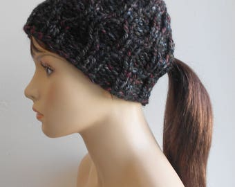 Cable Knit Ponytail Hat Pony Tail Beanie Chunky Knit Black Gray Made in Alaska Hat Gift for Her Mom Gift Winter Active Hat Low Ponytail Hat