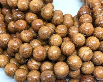 Waxed Bayong Wood Beads, Smooth Round Wooden Beads, Handcrafted Wooden Beads, Natural Brown Bayong Wood Beads, 10mm - 40 beads (W10-14)