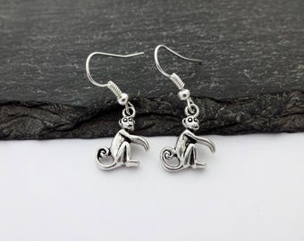 Monkey Earrings, Charm Earrings, Monkey Jewellery, Monkey Charms, Monkey Gift, Gift For Her, Drop Earrings, Monkey Jewelry