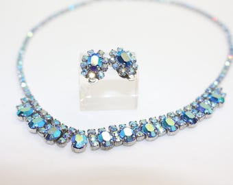 Blue Aurora Borealis Costume Necklace with matching clip on earrings vintage 1960s