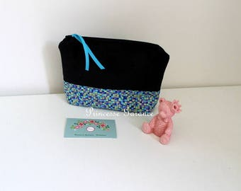 Christmas, birthday * pencil case, cotton, shades of blue, makeup, travel - in stock