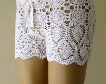 EXPRESS CARGO!!! White crochet short, crochet short, women short, beach accessories, beach wear !!! FORMALHOUSE