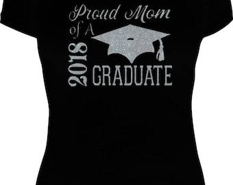 Glitter Proud Mom of a 2018 Graduate Tee