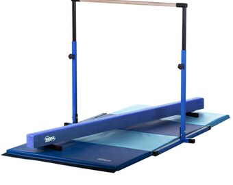 Blue - Light Blue Little Gym Equipment Set - Gymnastics Kip Horizontal Bar, Low Gymnastics Balance Beam, 8ft Gymnastics Tumbling Mat
