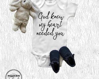 IVF Onesie® God knew my heart needed you Pregnancy Announcement Baby Onesie® Newborn Baby Shower New baby Baby Boy New parents Baby girl