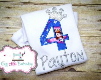 Sophia Birthday shirt, First Birthday Shirt, Custom Birthday Shirt, Personalized Applique Birthday Shirt, Girl's Birthday Shirt