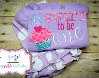 First Birthday Shirt, First Birthday Outfit, First Birthday Clothing Set, It's Sweet to Be One Shirt, Cupcake Shirt, Cupcake Applique Shirt