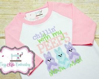 Bunny Shirt, Chillin Shirt, Easter Shirt, Girl Easter Shirt, Bunny embroidery, Bunny Applique, Raglan