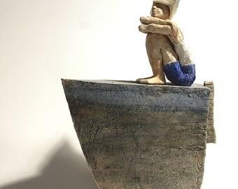 My maritime childhood, Boat, Ceramic Sculpture, Unique Ceramic Figurine, figurine