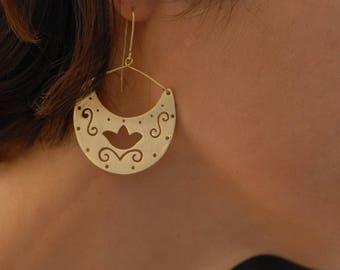 Bohemian Chandelier Earrings, Hippie Earrings, Golden plated Bronze, Ethnic Brass Earrings, Statement Earrings, Valentine gift
